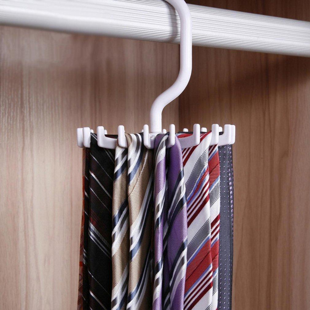 Leoboone giratoria Tie Rack Ajustable del Lazo de la suspensi/ón Tiene Capacidad para 20 Hombres Corbatas Organizador para el Armario Giratorio sostenedor del Gancho Cinturones Bufandas Percha