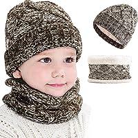 CheChury Set de Bufanda y Gorro Niños Niñas Unisex Conjuntos Beanie Sombrero de Punto Cuello Bufanda de Punto Cálido de…
