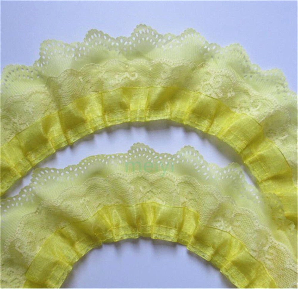 5 Yard 3-Layer Pleated Organza Lace Edge Gathered Mesh Chiffon Trim Ribbon 65mm Width Vintage Style Edging Trimmings Fabric Embroidered Applique Sewing Craft Wedding Bridal Dress Party Decor Blue