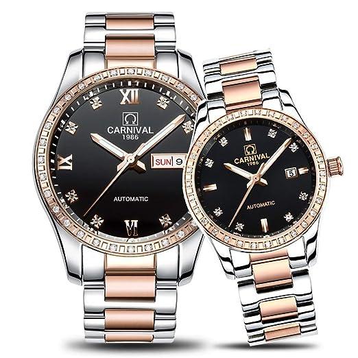 HUNRUY - Relojes para Pareja para Hombre y Mujer, automático, Reloj mecánico, a la Moda, Chic para Ella o para Ella, Juego de 2: Amazon.es: Relojes