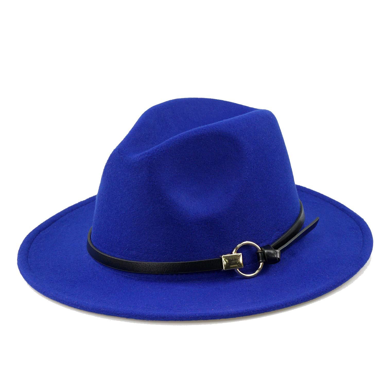 Womens Classic Wide Brim Floppy Panama Hat Winter Warm Belt Buckle Wool Fedora Hat Blue