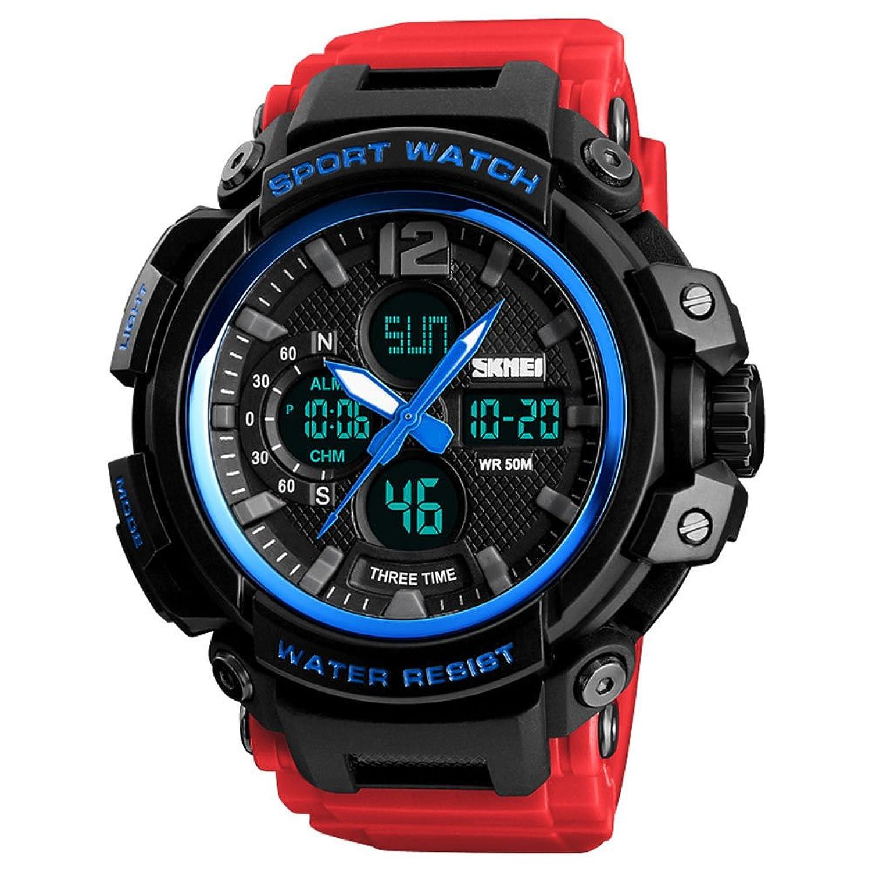 軍事スポーツ腕時計メンズアナログクオーツデジタル腕時計LEDデジタルアウトドアデュアル表示50 M防水3つのタイムゾーン表示 55mm ブルー & レッド B07BW1GQ8Rブルー & レッド