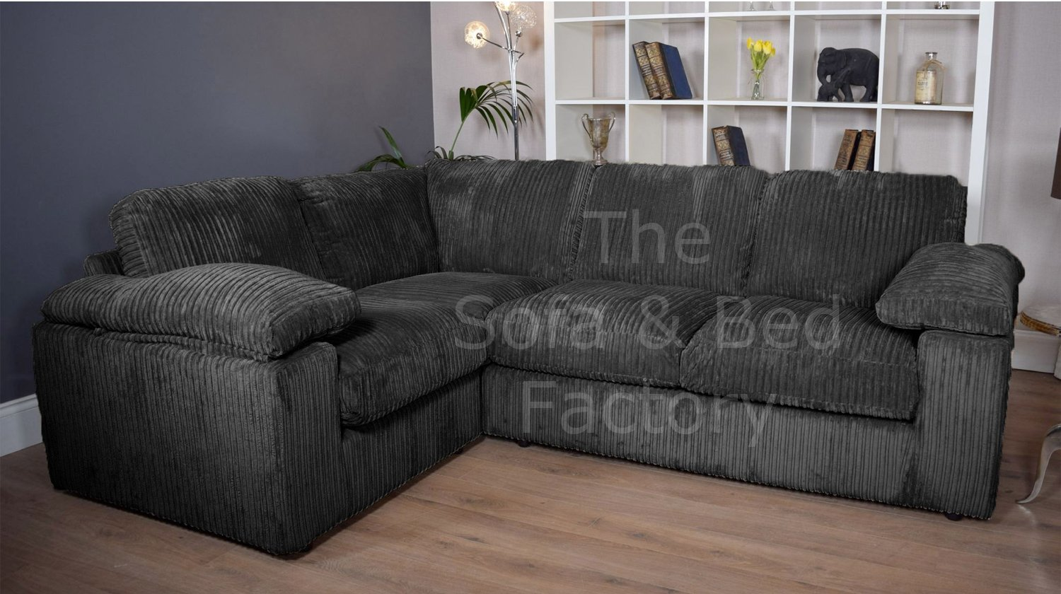 new style dcb2f b4920 Details about New Ruxley Large Fabric 4 Seater Corner Sofa - 1 Corner 2 -  Black Cord Cheap