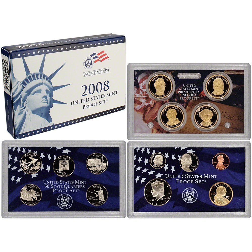 5 Coins Original Government Packaging 2008 S Silver Proof State Quarter Set