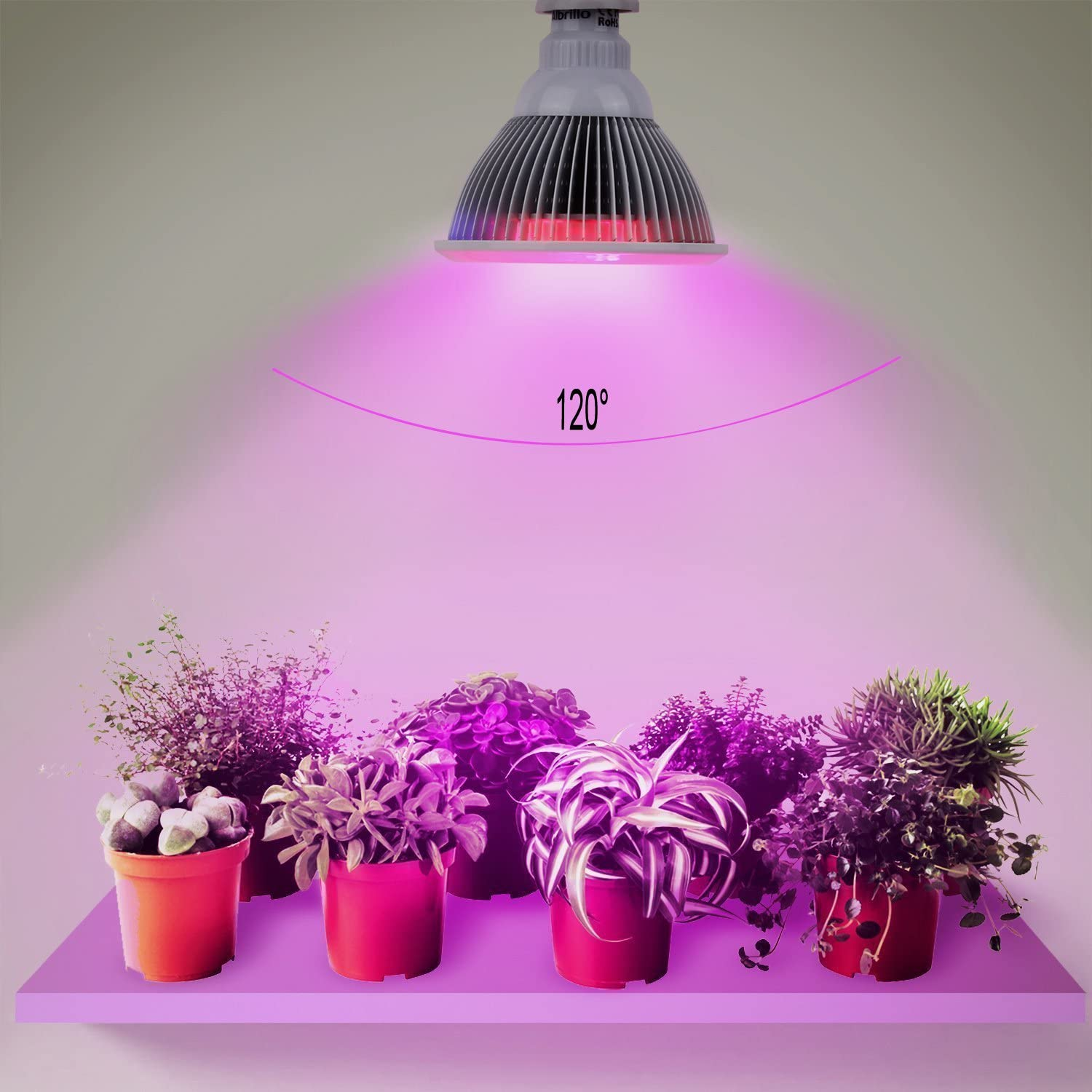 LED Grow Light Bulb Full Spectrum High Effcient LED Growing Bulbs Freal Indoor Garden Plants Lamp for Hydroponic Aquatic and Greenhouse Planting Flower 50W 78LEDs 120 Degree Wide Area Coverage