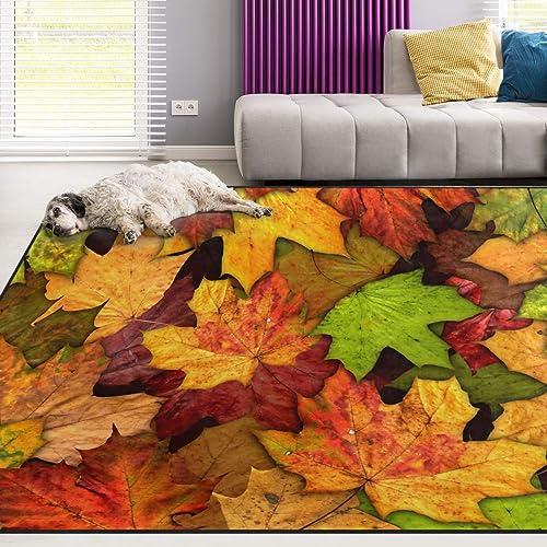 Naanle Autumn Leaves Non Slip Area Rug