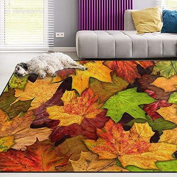 Autumn Maple Leaf Full Moon Area Rugs Living Room Floor Mat Christmas Carpet Rug Rugs Carpets Sisal Seagrass Area Rugs