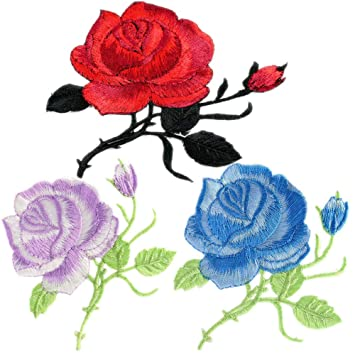 10PC ~ PURPLE ROSES IRON ON EMBROIDERED APPLIQUE PATCHES