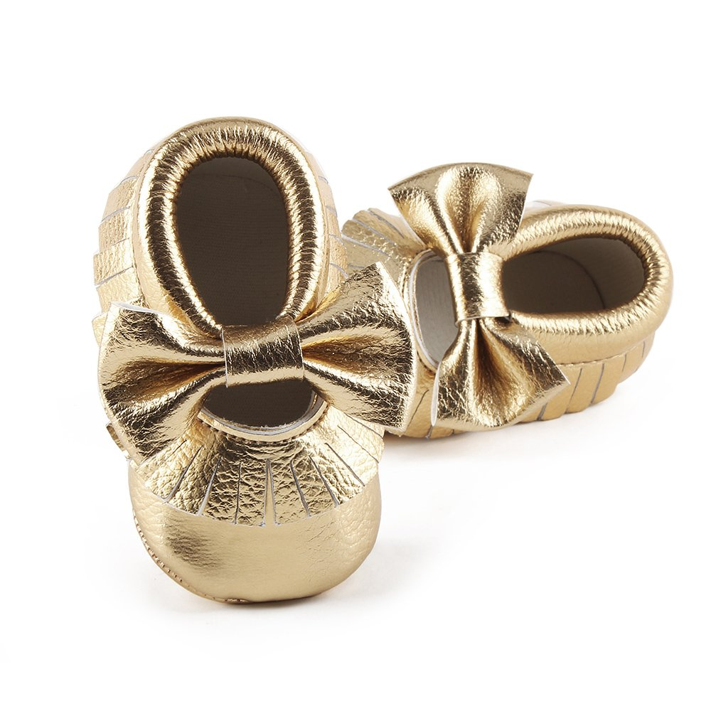 Delebao Infant Toddler Baby Soft Sole Tassel Bowknot Moccasinss Crib Shoes (0-6 Months, Gold)