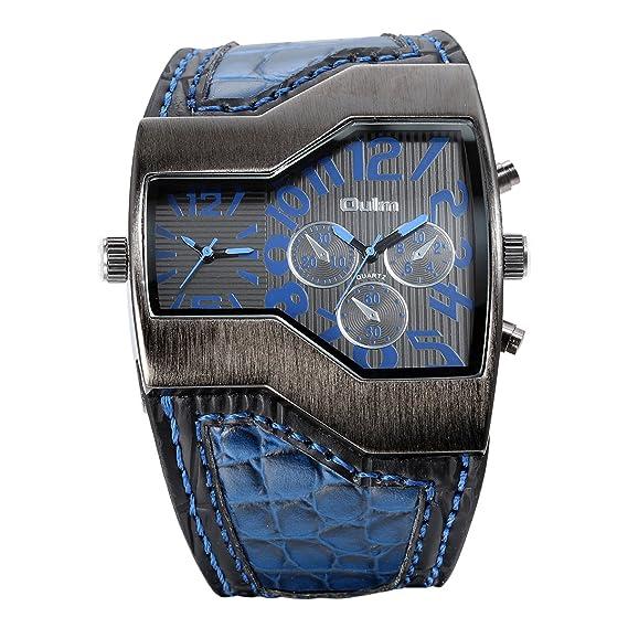 Reloj de pulsera para hombre JewelryWe, cuero Aleación, casual reloj analógico de cuarzo con correa de cuero azul esfera digital: Amazon.es: Relojes