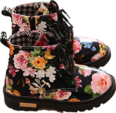 Toddler//Little Kid PPXID Boys Girls Waterproof Flowers Lace-Up and Zip Ankle Boots