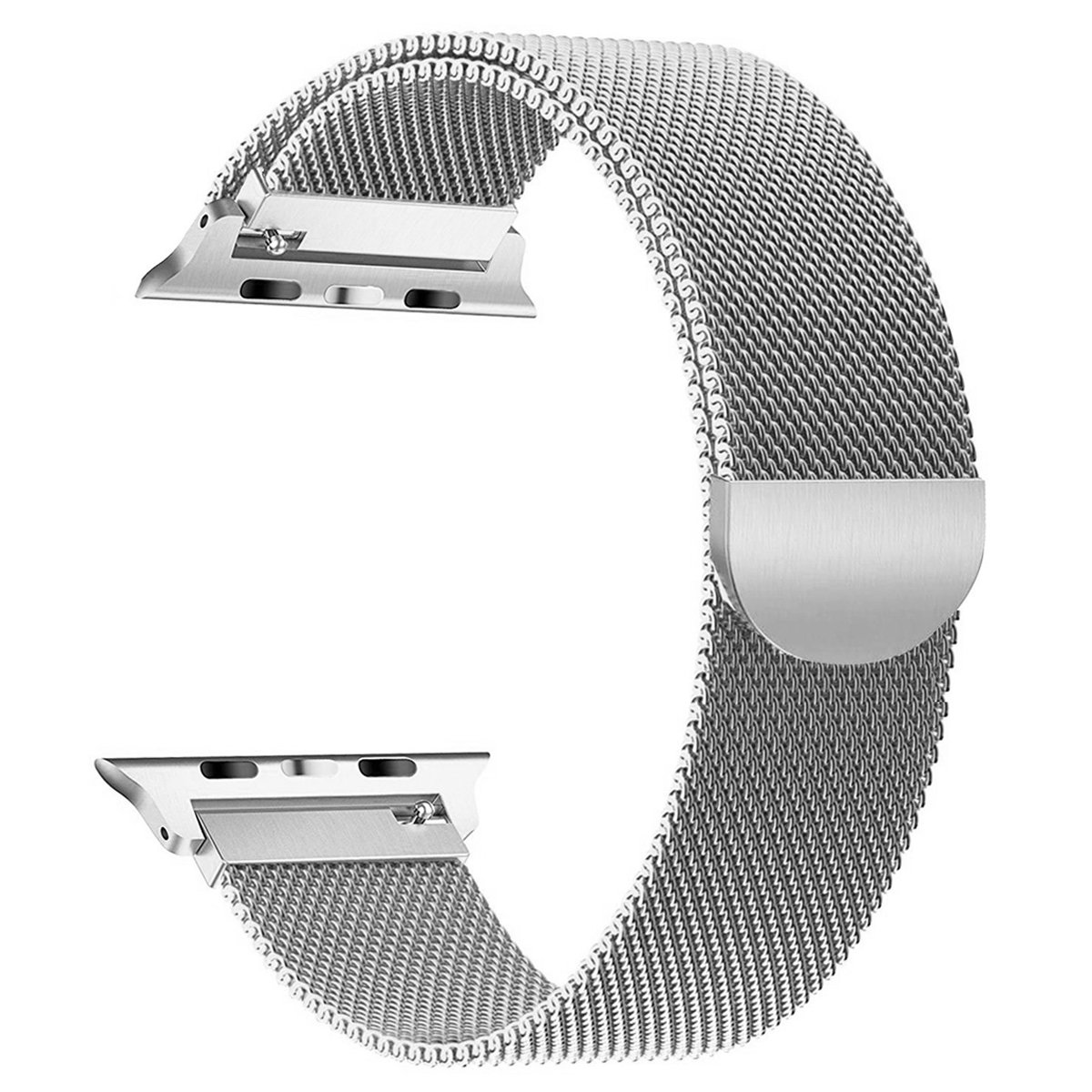 OULEDI Compatible Stainless Steel Band for Apple Watch Replacement Mesh Strap Bracelet for iWatch Series 1 Series 2 Series 3 with Magnetic Closure Clasp 38mm silver