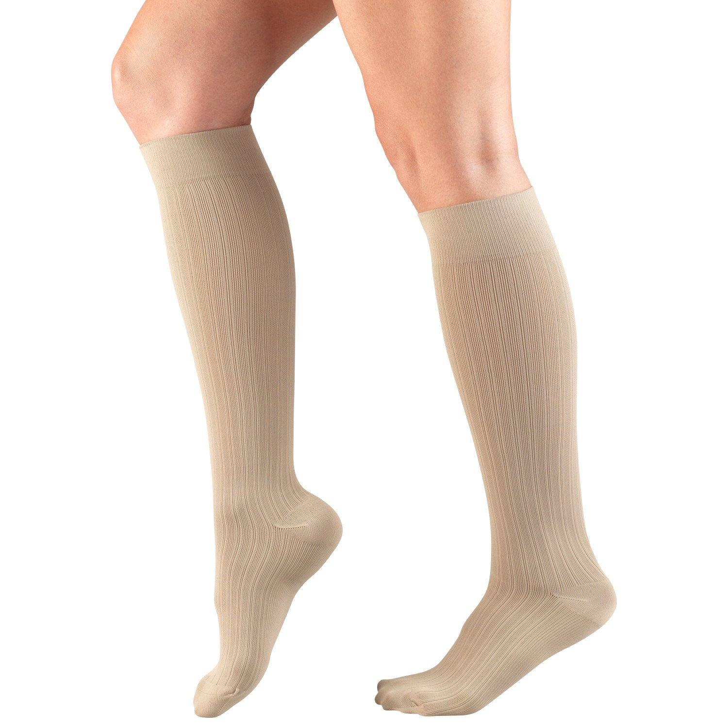 Amazon.com: Truform Womens Fit Compression Socks, Rib Knit Pattern, 15-20 mmHg, Tan, Small (Pack of 2): Health & Personal Care