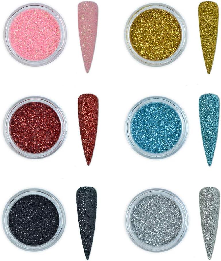 6 colores purpurina polvo