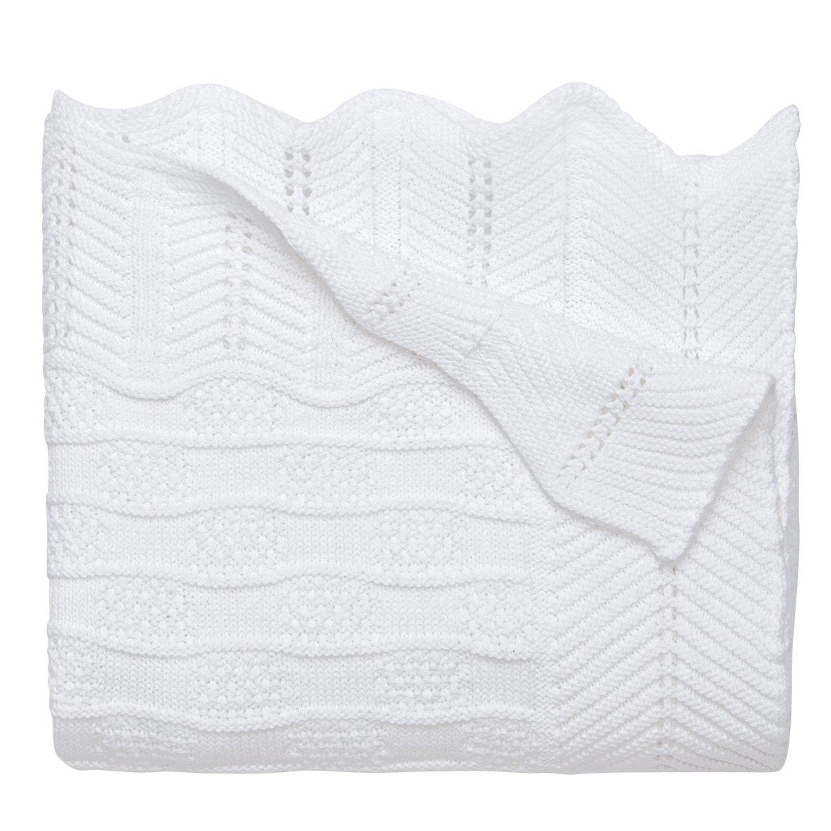Elegant Baby Premium 100% Cotton Knit Blanket, White Texture Knit, 30'' x 40'' by Elegant Baby