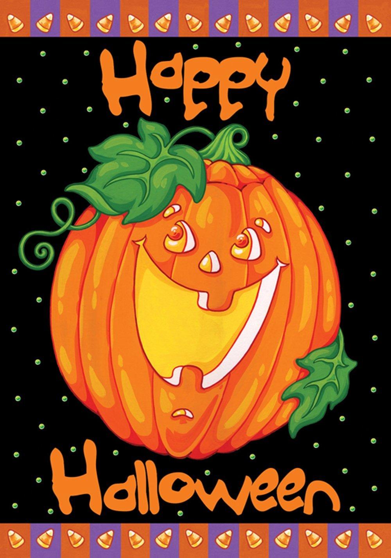 Amazon.com : Toland   Happy Halloween   Decorative Pumpkin Holiday Jack O  Lantern USA Produced Garden Flag : Outdoor Flags : Garden U0026 Outdoor