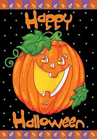 Amazon.com : Toland - Happy Halloween - Decorative Pumpkin Holiday ...