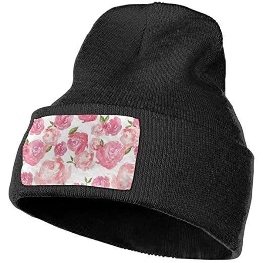 MXMAOM9MX Watercolor Floral Pattern Warm Knitting Hat Mens Womens ... c00d0195129