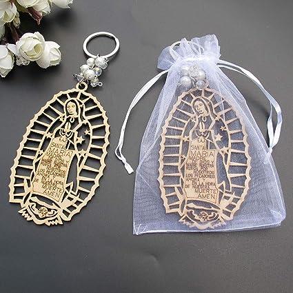 12X Baptism Lady of Guadelupe Round Wood Keychain Recuerdos de Bautizo Communion