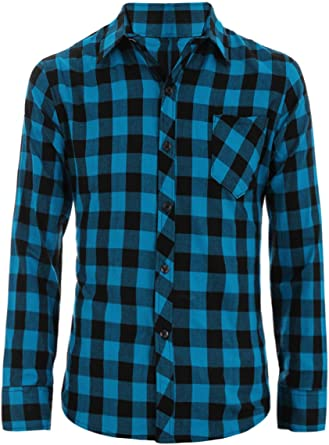 YYear Mens Long Sleeve Chest Pocket Fashion Plaid Button Down Shirts