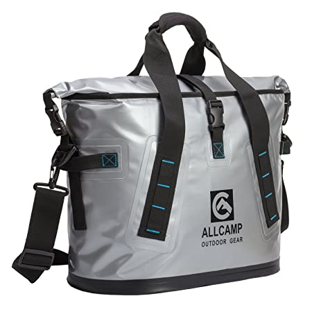 ALLCAMP OUTDOOR GEAR TLC14002A1MN ALLCAMP Hopper Portable Cooler Bag 25L with 5 ice Pack boxs Solid Silv, Large, Silver