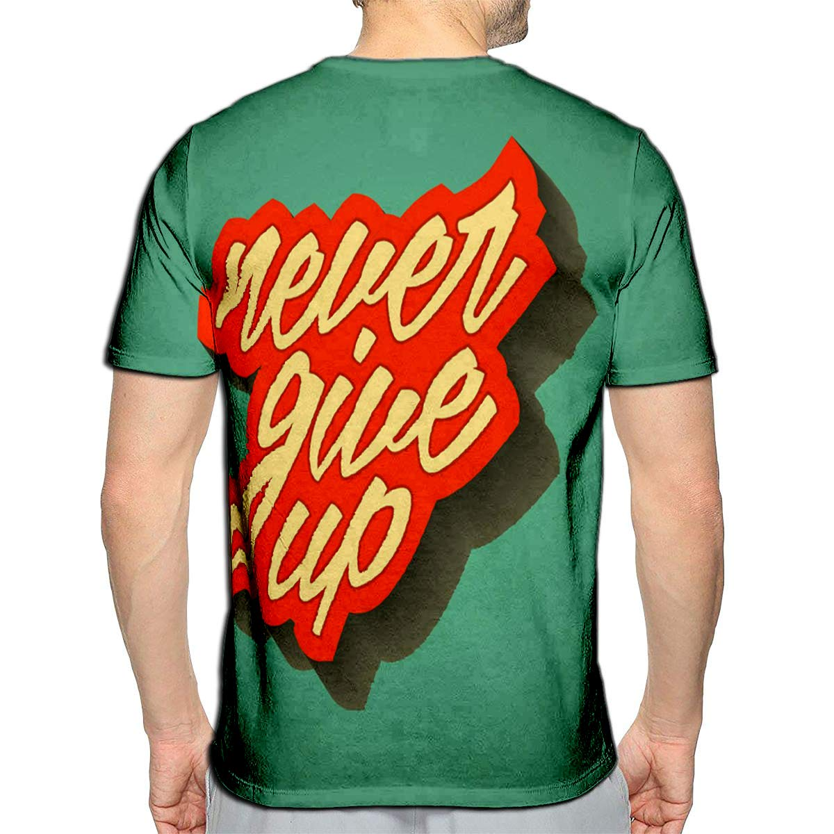 YILINGER T-Shirt 3D Printed Retro Never Give Up Casual Tees