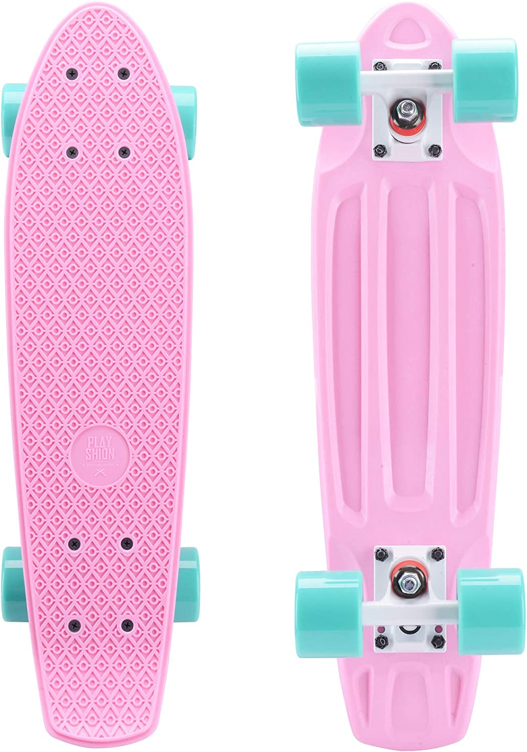 Playshion Complete 22 Inch Mini Cruiser Skateboard for Beginner with Sturdy Deck / US
