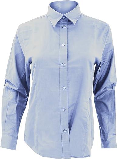 Kustom Kit- Camisa Oxford de manga larga de trabajo para mujer