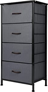 ODK Dresser with 4 Drawers Tall Fabric Storage Tower Organizer Unit for Bedroom Chest for Hallway Closet Easy Assembly Steel Frame and Wood Top, Dark Grey