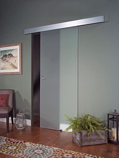 pinecroft 8bdgl3080op opaque interior glass barn door 30 - Glass Barn Doors
