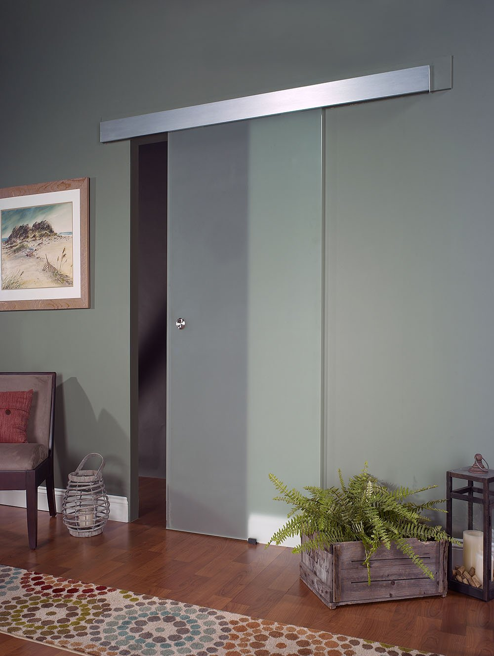 Pinecroft 8BDGL3280OP Opaque Interior Glass Barn Door, 32'' x 80''