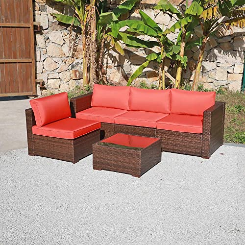 OC Orange-Casual 5 Piece Patio Furniture Set All-Weather Outdoor Small Sectional Sofa Set Weaving Wicker Couches
