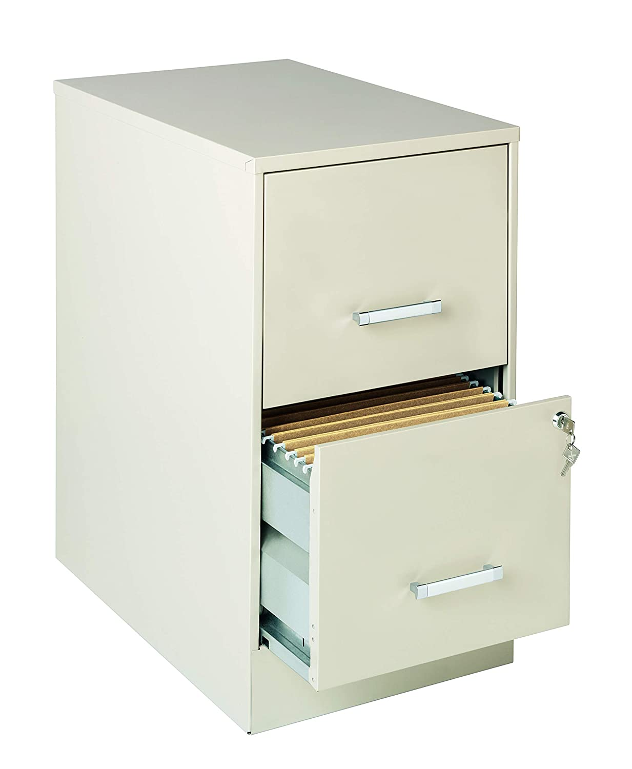 "Office Dimemsions 16870 Deep 2 Drawer Letter-Sized Metal File Cabinet 22"" Stone"