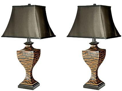 Safavieh lighting collection sahara safari brown and black zebra 32 5 inch table lamp set