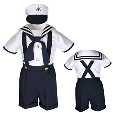 7a763565afce Amazon.com  Unotux Sailor Shorts Suits for Infant Toddler Boys Navy ...