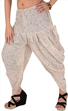 Faldas y Bufandas Mujeres Nueva Impreso algodón Aladdin Pantalones Amarillo Crema Talla única: Amazon.es: Ropa y accesorios