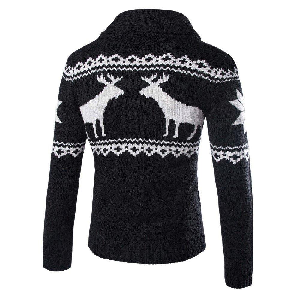 REYO Mens Coats Winter Clearance Mens Winter Christmas Sweater Cardigan Xmas Knitwear Coat Jacket Sweatshirt