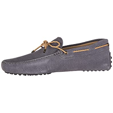 Tods Mens Suede Loafers Moccasins My Colors Gommini 122 Grey EU 40.5 XXM0GW05473GEOL801