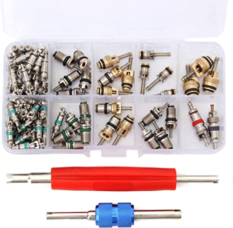 R134a Automotive Air Conditioning Valve Core+6 A//C System Cap 1 Remover Tool