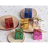 Hapy Shop Christmas Tree Decor 72 Pieces Mini Christmas Ornaments Foam Gift Box Shiny Metallic Wrapped Miniature Package…