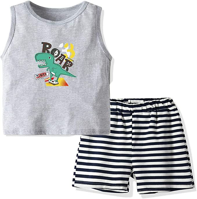 BrightyKid Baby Boys Toddler Summer Printed Tank Top T-Shirt and Striped Shorts Outfits Sets