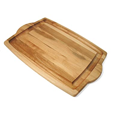 J.K. Adams 20-Inch-by-14-Inch Maple Wood Farmhouse Carving Board with Handles