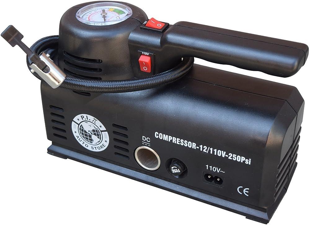 P.I.Auto Store Tire Inflator - Dual Electric Power 12V DC (car) 110V/120V AC (mains). Portable Air Compressor Pump with storage bag - New and improved