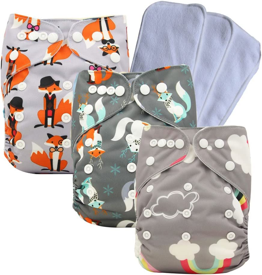 Adjustable Unisex Baby Pocket Cloth Nappies 3//4//6PCS 3//4//6 PCS Inserts 3pcs-3
