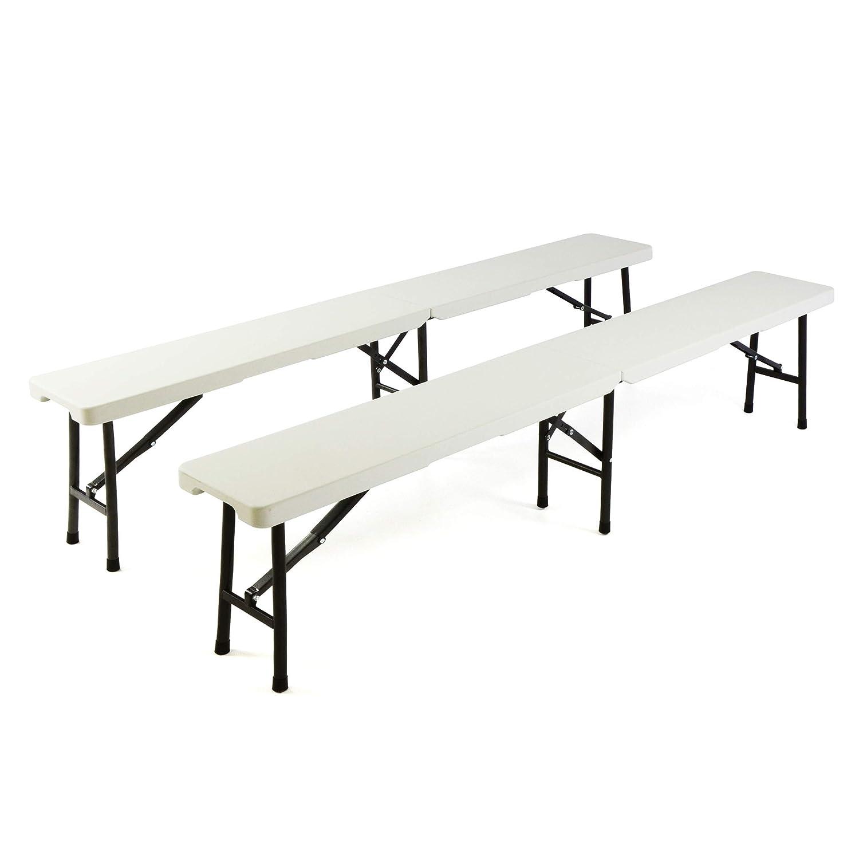 SONLEX 2er Set Bierbank klappbar Partybank 180 x 25 x 41 cm weiß bis 200 kg Gartenbank für 4 Personen Garnitur wetterfest Kunststoff