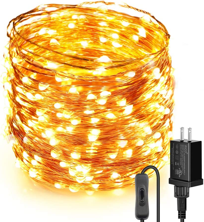 Moobibear LED String Lights 99ft, UL Listed Plug in Fairy Lights, 300 LED Warm White Starry String Light with ON/Off Switch, Waterproof Copper Lights for Bedroom, Patio, Birthday, Wedding, Party