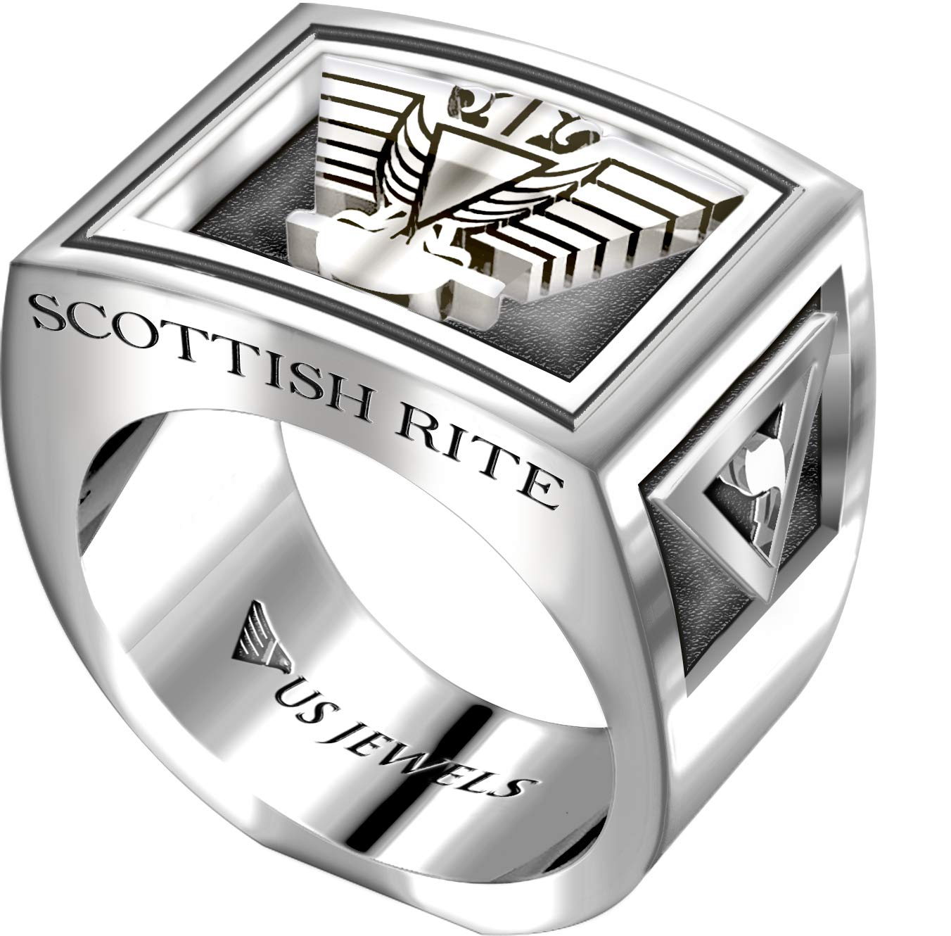 US Jewels And Gems Men's Heavy 0.925 Sterling Silver Freemason Scottish Rite Ring Band, Size 10 by US Jewels And Gems (Image #2)