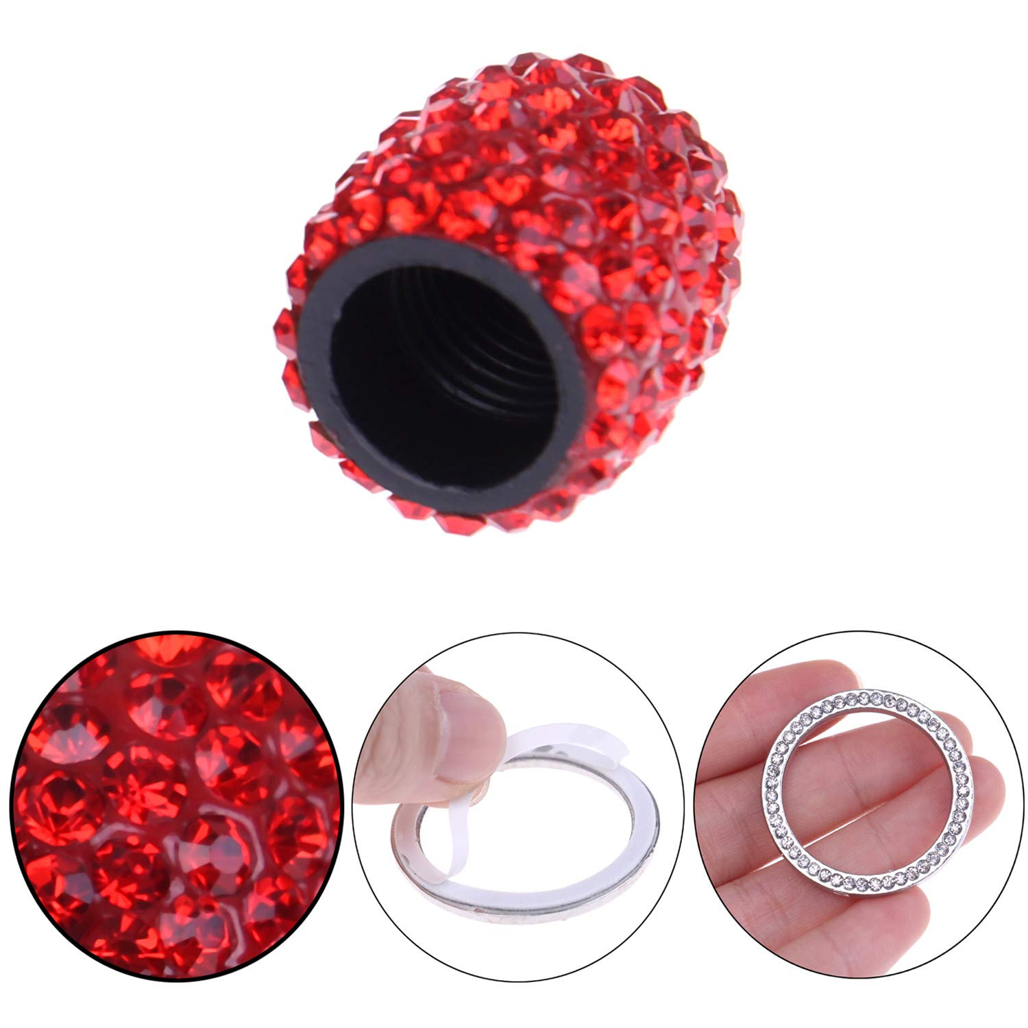 Valve Stem Caps,4Pcs Crystal Rhinestone Universal Tire Valve Dust Caps Bling Car Accessories with 2 Ring Emblem Sticker for Auto Start Engine Ignition Button Car Decor Engine Start Stop Accessories