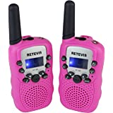 Retevis RT-388 Walkie Talkies for Kids 22 Channel FRS LCD Display Flashlight VOX Kids Walkie Talkies (2 Pack, Pink)