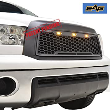 EAG Replacement Upper Grille Front Grill with Amber LED Lights Fit for  10-13 Toyota Tundra - Charcoal Gray